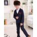BO0566 ชุดสูทเด็กผู้ชายเด็กโต สุดคุ้ม เสื้อสูท + เสื้อกั๊ก + กางเกงขายาว ลายสก๊อตสีกรมท่า พร้อมเข็มกลัดกุหลาบ (4ชิ้น)
