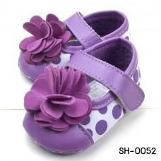 SH0052 รองเท้าหัดเดินเด็กเล็ก Pre-Walker สายคาดลายจุดใหญ่ ติดดอกไม้ดอกโต สีม่วง S.12cm.