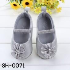 SH0071 รองเท้าหัดเดินเด็กเล็ก Pre-Walker ออกงานหนังเทียมแบบสวม แต่งดอกไม้ติดเพชร สีบรอนซ์เงิน