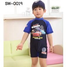 SW0019 ชุดว่ายน้ำเด็กผู้ชาย แบบบอดี้สูท แขนขาสั้น ลายคาร์ Cars พร้อมหมวก สีกรมท่า (2ชิ้น)
