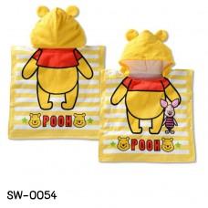 SW0054-4 ผ้าคลุมอาบน้ำ หรือ ผ้าคลุมสำหรับว่ายน้ำ ลิขสิทธิ์ ดิสนีย์ ลายหมีพูห์ สีเหลือง