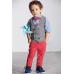 BO0228 ชุดเด็กผู้ชายออกงาน เชิ๊ตแขนยาวสีฟ้าติดหูกระต่ายสีแดง กั๊กสีเทา กางเกงสีแดงแตงโม (3ชิ้น)