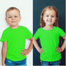 TS0014 เสื้อยืดเด็ก คอกลม สีเขียวมะนาว/สีเขียวตองอ่อน