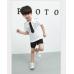 BO0229 ชุดนักบินเด็กผู้ชาย เสื้อสีขาว เนคไทด์และ กางเกงขาสั้น สีดำ (3ชิ้น)