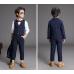 BO0562 ชุดสูทเด็กผู้ชายเด็กโต สุดคุ้ม เสื้อสูท + เสื้อกั๊ก + กางเกงขายาว สีกรมท่า พร้อมเข็มกลัด (4ชิ้น)