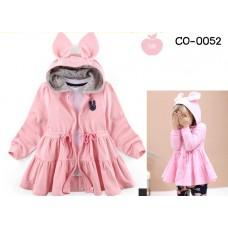 CO0052 เสื้อคลุมกันหนาวเด็กผู้หญิง แขนยาว พร้อมฮู้ดหูกระดิก มีเชือกรูดช่วงเอว สีชมพู S.100
