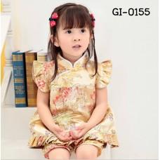 GI0155 ชุดจีนสาวหมวยกี่เพ้า + กางเกงขาจั๊ม ลายโบตั๋นสีทอง ฉลองตรุษจีน (2ชิ้น) S.80