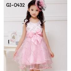 GI0432 เดรสเด็กผู้หญิง ออกงาน แขนกุด ลายเส้นสีทอง สีชมพู