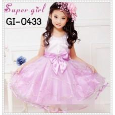 GI0433 เดรสเด็กผู้หญิง ออกงาน แขนกุด ลายเส้นสีทอง สีม่วง S.110