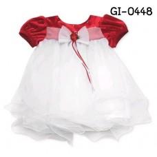 GI0448X << สินค้ามีตำหนิ >> เดรสเด็กผู้หญิง ออกงาน ช่วงบนสีแดง แขนสั้น ติดโบว์ กระโปรงฟูฟ่องสีขาว S.90