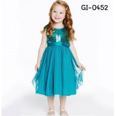 GI0452 เดรสเด็กผู้หญิงออกงาน แขนกุด ปักเลื่อม แต่งกุหลาบ สีฟ้า