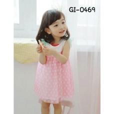 GI0469 เดรสเด็กผู้หญิง แขนกุด แต่งโบว์ที่ไหล่สีเขียวทั้ง 2 ด้าน กระโปรงลายจุด สีชมพู