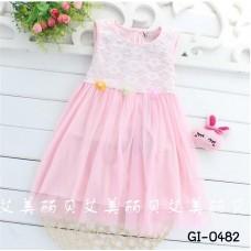GI0482 เดรสเด็กผู้หญิง ออกงาน แขนกุด แต่งลูกไม้ และดอกไม้เล็กๆ สีชมพู