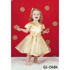 GI0484 เดรสเด็กผู้หญิง ออกงาน แขนสั้น แต่งดอกไม้ที่เอว สีเหลืองทอง S.110