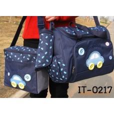 IT0217 กระเป๋าใส่ขวดนม และสัมภาระลูกน้อย แสนน่ารักเซ็ท 3 ชิ้น ลายรถสีน้ำเงิน
